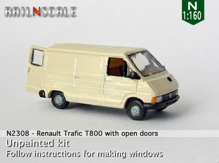 Renault Trafic T800 with open doors (N 1:160) 3d printed