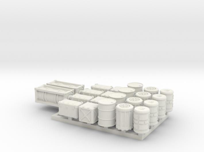 15mm Sci-Fi Cargo Crates and Barrels 3d printed