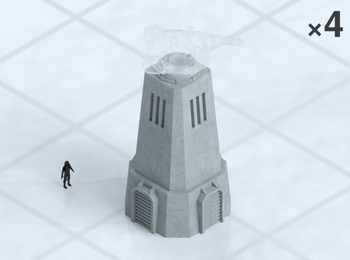 """6mm Turret Towers (4) 3d printed Shown on 1"""" grid with 6mm figure (not included) for scale."""