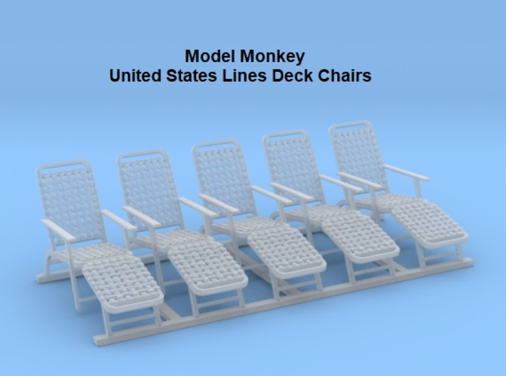1/96 Deck Chairs (United States Lines) 3d printed