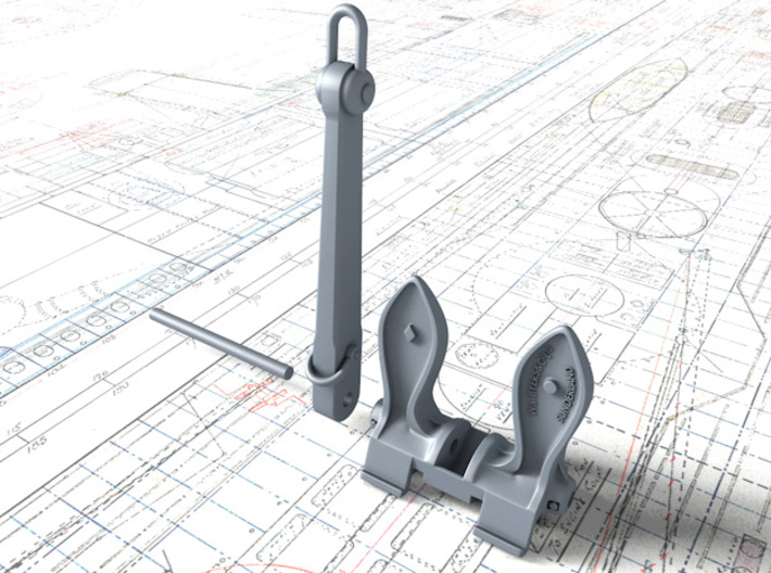1/192 RN Byers Stockless Anchors 75cwt x2 3d printed 3d render showing parts per Anchor