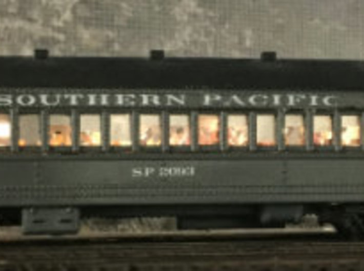 SP Suburban 72' Coach Seat N Scale 3d printed Finished model with my light kit