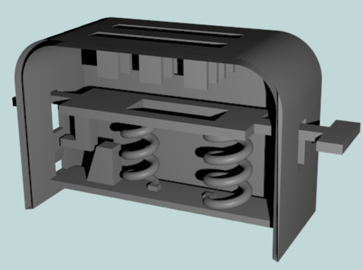 BJD Spring-Loaded Toaster 3d printed Render of Toaster Internals