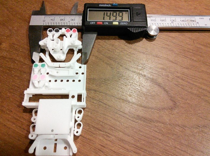 """CK8 Chassis Kit for 1/32 Scale 2.4ghz RC Mag Steer 3d printed Width of frame where steering knuckles are mounted is about 1.50""""."""