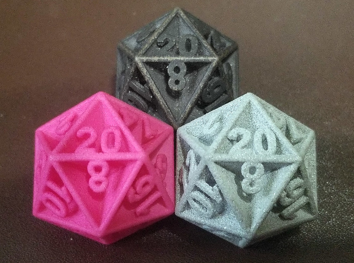 D20 - Plunged Sides 3d printed Printed In Steel And Pink & Grey Plastic
