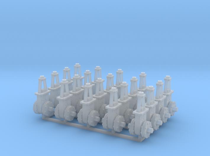 O scale Gate Valve - 6in 4C V3 20ea 3d printed