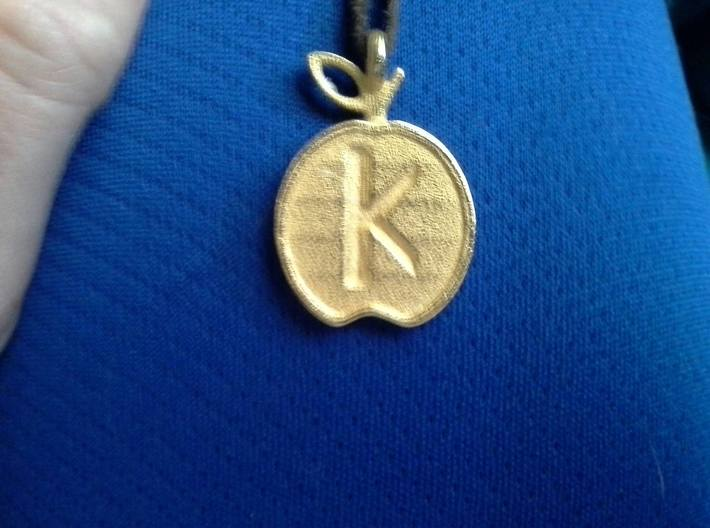 Pendant of the Golden Apple - Kappa 3d printed Pendant, worn, in Gold Steel