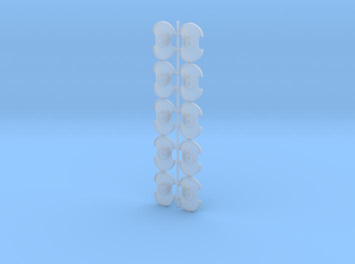 Blank - Trojan Power Shields (L&R) 3d printed (x10) 5 Left & 5 Right Handed Shields