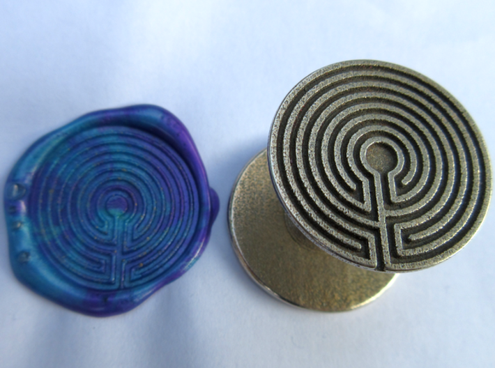 Labyrinth Wax Seal 3d printed blue and purple wax, using the smaller reverse of the seal