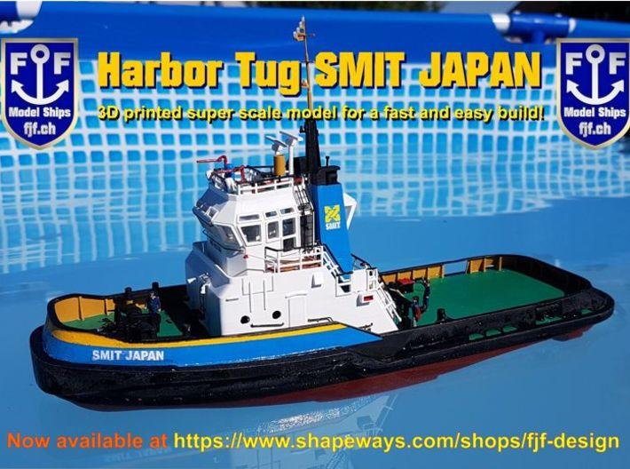 Harbor Tug Hull V40 1:87 3d printed SMIT JAPAN Harbor Tugboat Protoype 1/100