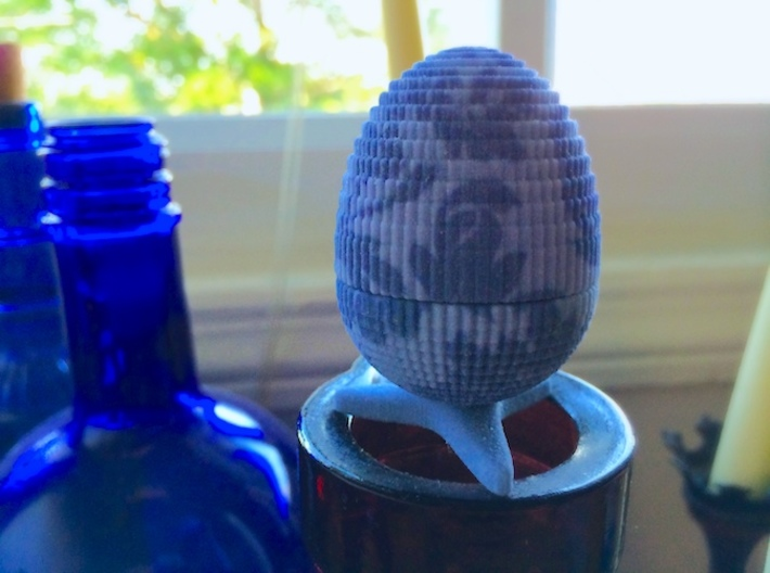 Egg Jewelry Box: Blue Garden 3d printed