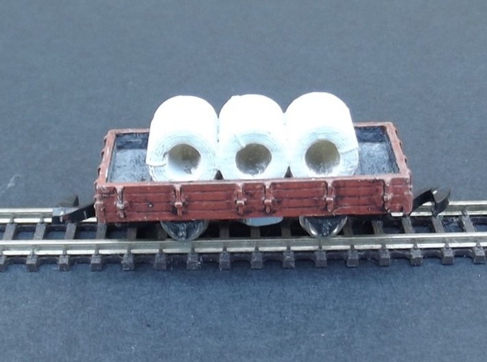 Wagon Plat Load Coil Wide - Nm - 1:160 3d printed set of 3 coils for wagon plat