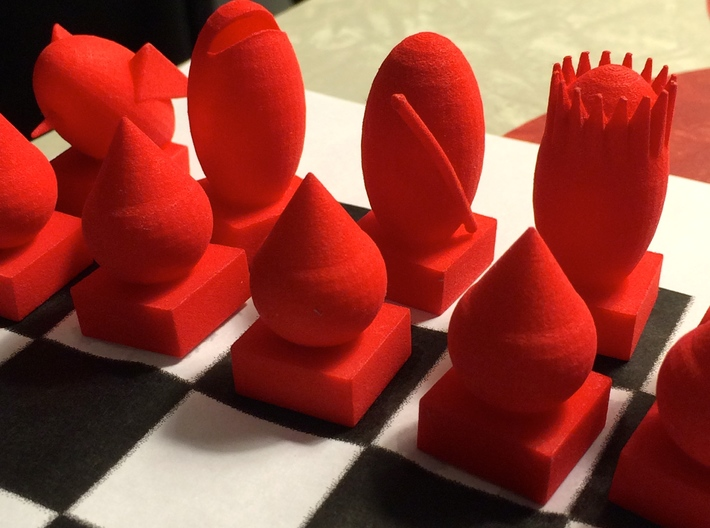 Rook-shaped Rook 3d printed better view of set