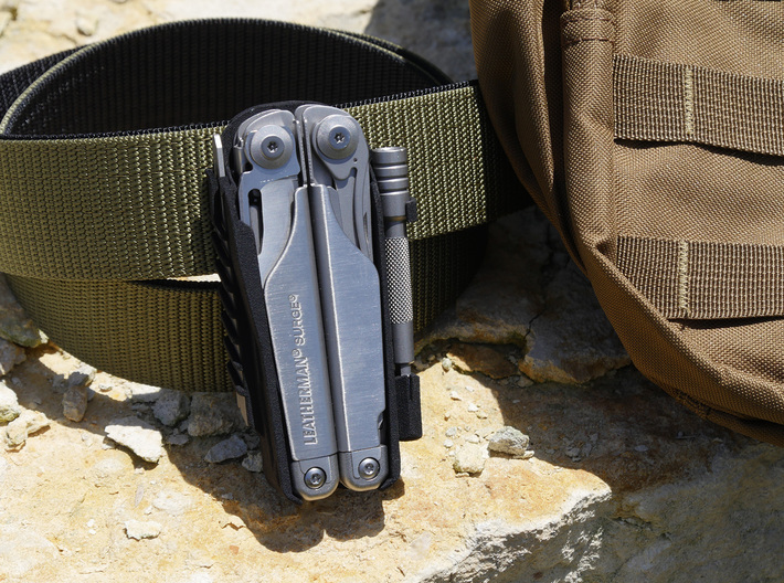 Holster for Leatherman Surge, Closed Loop 3d printed Shown with optional bit extender holder.