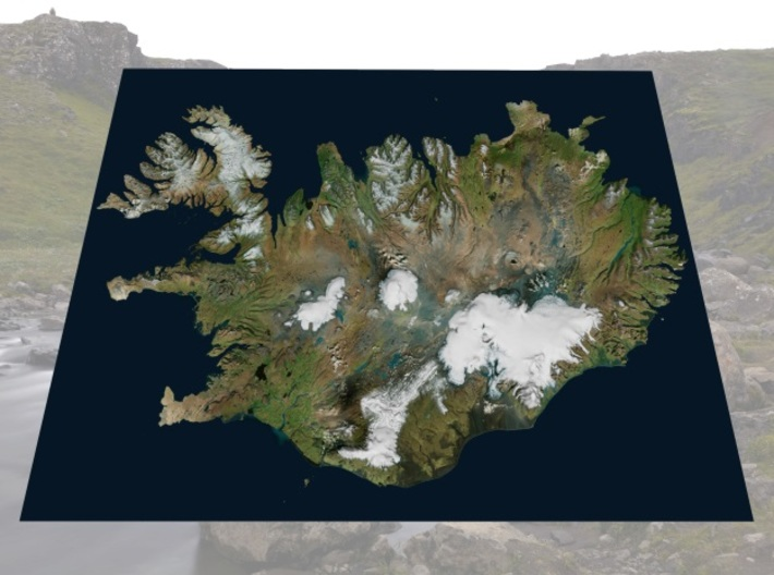 "Iceland Map, 8.5""x11"": Color 3d printed"