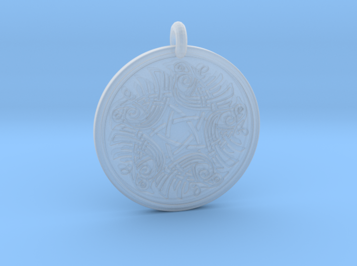 Birds Celtic Round Pendant 3d printed