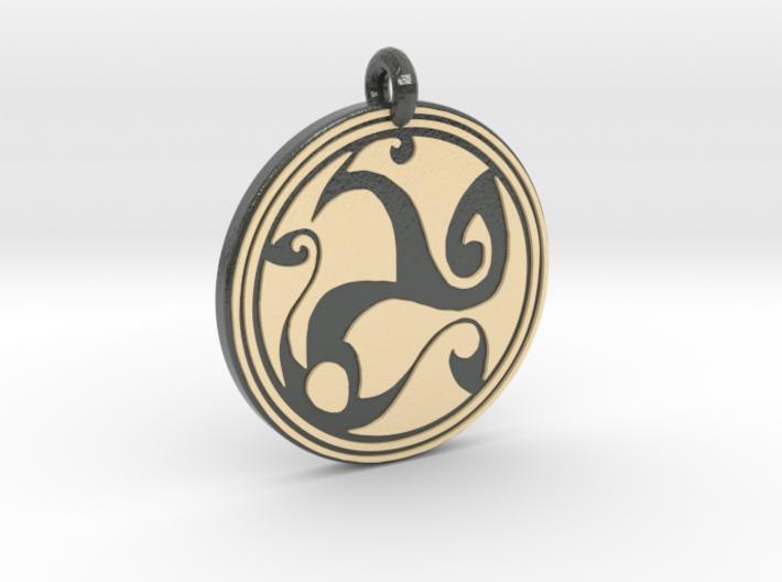 Celtic Spirals - Round Pendant 3d printed