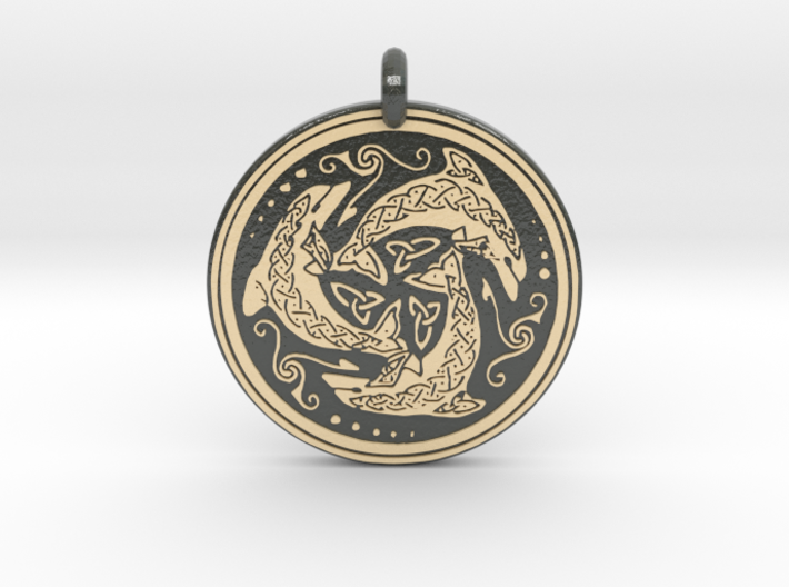 Nehalennia Dolphin Celtic - Round Pendant 3d printed