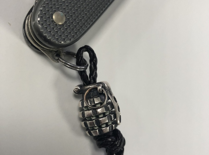 Toxic Bomb - tritium grenade bead 3d printed Made in silver with antique finish