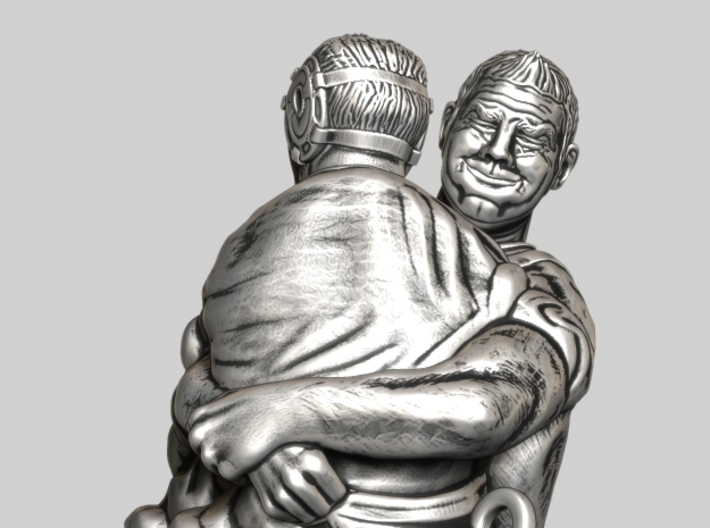 Swiss wrestling - 40mm high 3d printed Antique Silver
