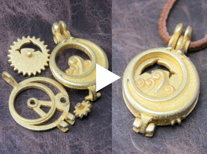 """Rotate Pendant """"Dolphin and Moon"""" 3d printed Assembly is very simple."""