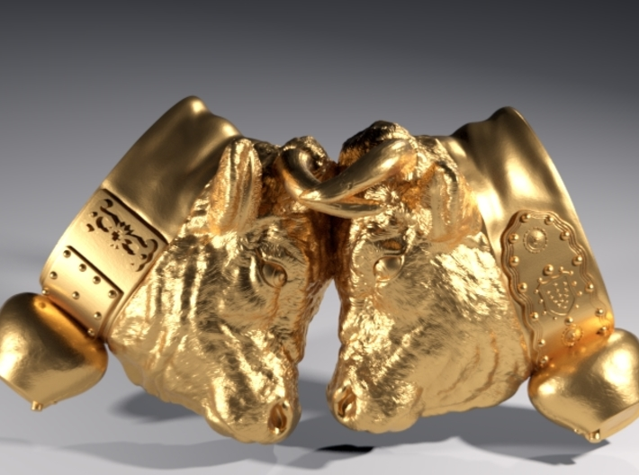Swiss cow fighting #A - 30mm high 3d printed Polished Brass