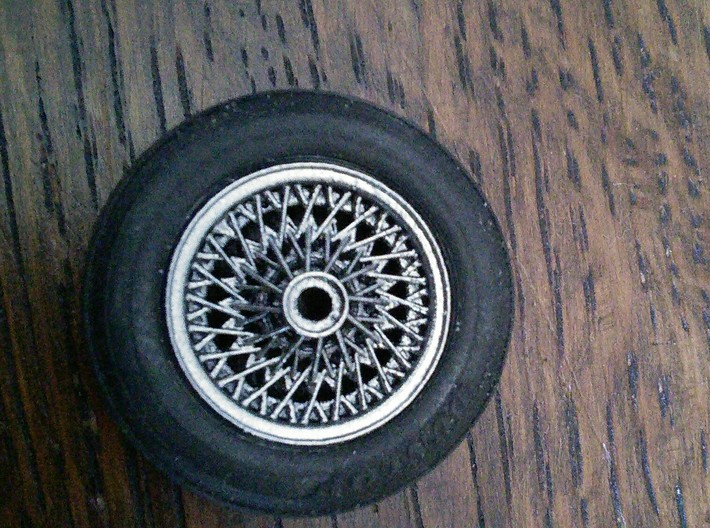 British style wire wheel 3d printed Painted wheel.  Tire not included.