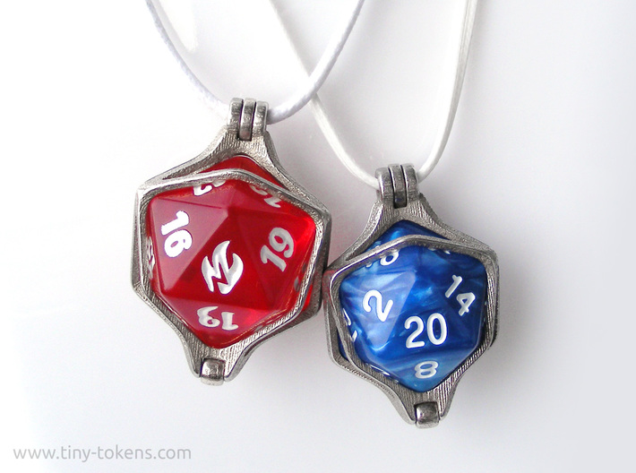 Dice Pendant - 22 mm (MTG Spindown) 3d printed Also available for regular d20 size