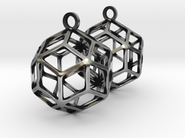 Rhombic Triacontahedron Earrings 3d printed