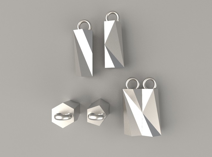Scutoid Earrings - Mathematical Jewelry 3d printed Computer render of Scutoid earrings in polished silver