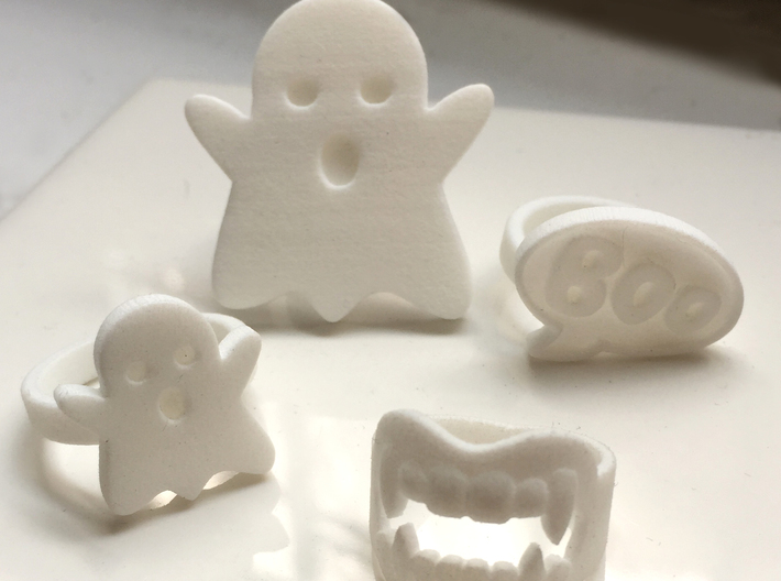 Small Ghost Ring 3d printed Shown with XL Ghost, Fangs and Boo Rings