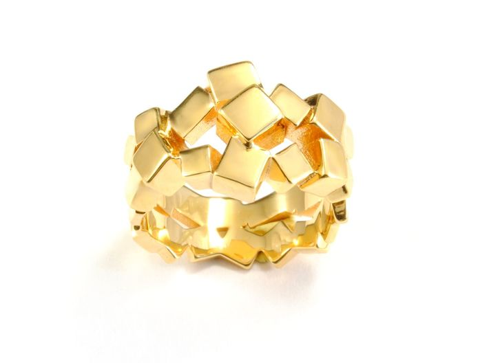 Prism Double Ring (from $15) 3d printed gold ring cristal