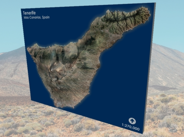 Tenerife Map, Canary Islands - Large 3d printed