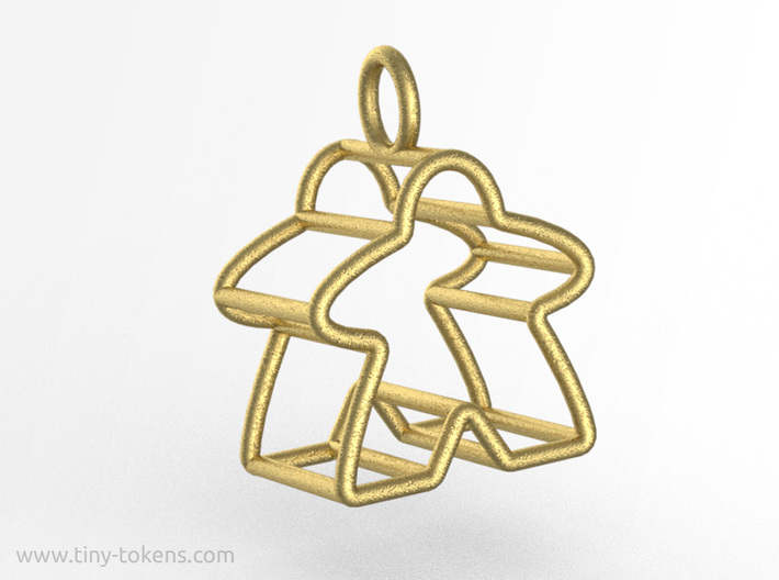 Meeple Wire-frame Pendant 3d printed