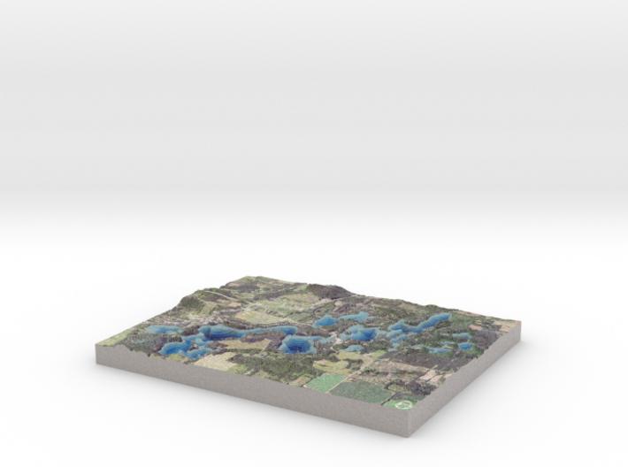"Chain O' Lakes Bathymetry Map:  8""x10"" 3d printed"