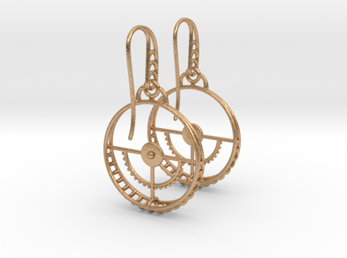 Clockwork Hoop Earrings 3d printed
