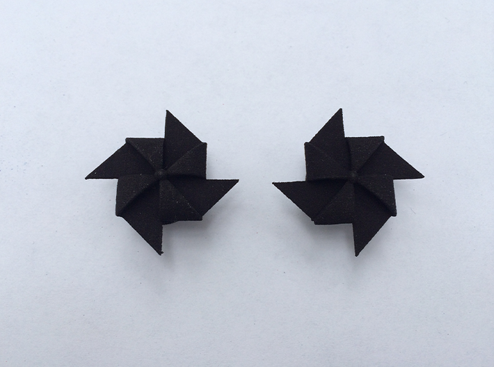 Pinwheel Earrings | Kinetic 3d printed Black