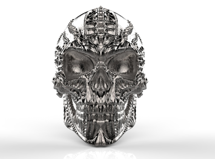 Skull Ring Personalized In Stainless Steel And Sil 3d printed