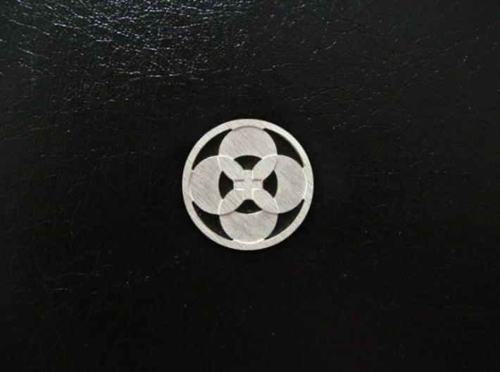 Round Pendant - Four Petals Bound 3d printed Sterling Silver