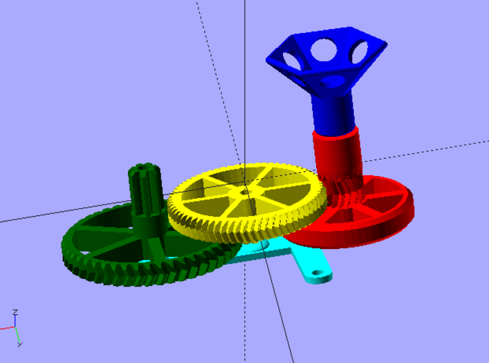 Hand-powered Picofuge (6 x 1.5ml tubes) 3d printed OpenSCAD render, showing assembly