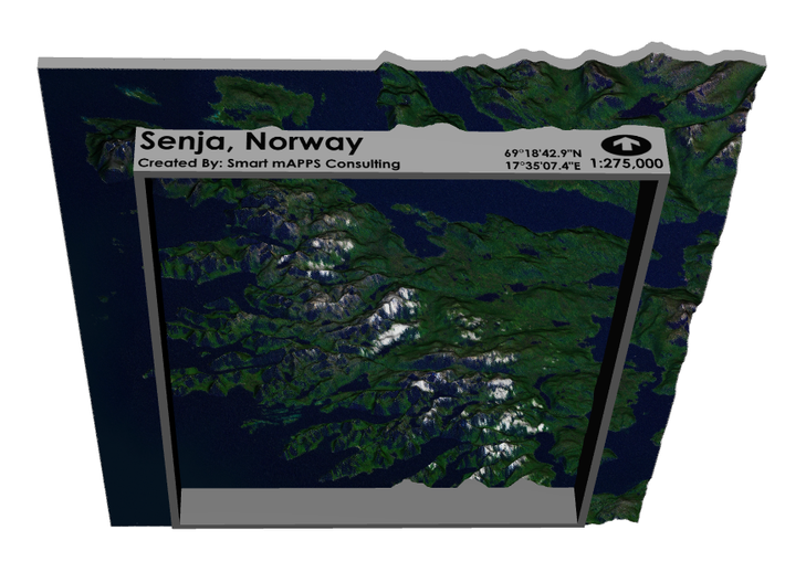 Senja Map, Norway 8x10 3d printed