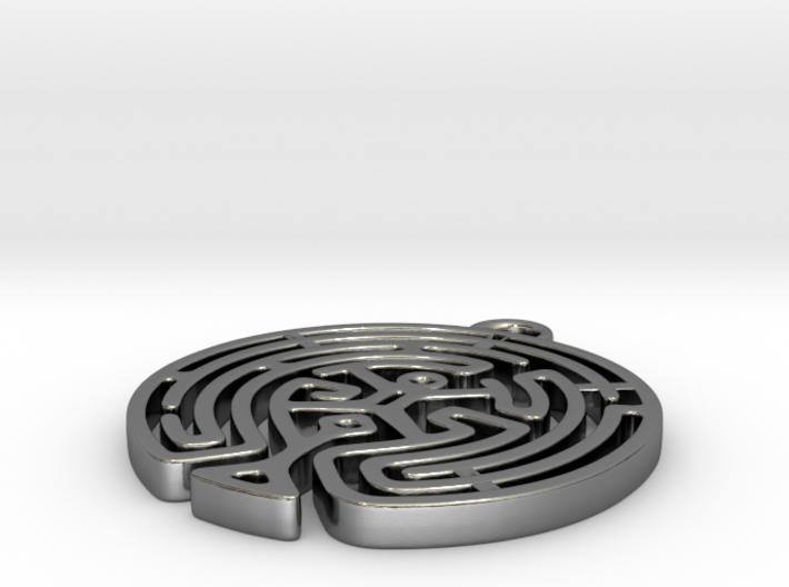 Westworld Maze Pendant (round) 3d printed