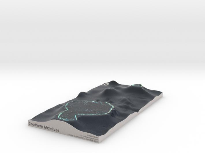 Southern Maldives Map 3d printed