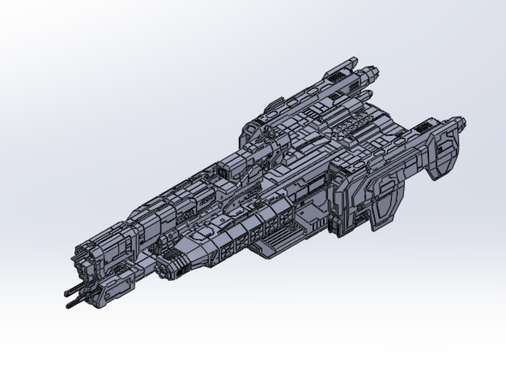 HALO. UNSC Charon Class Frigate 1:3000 3d printed