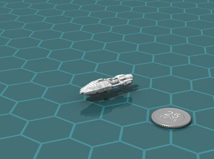 Galimek Heavy Cruiser 3d printed Render of the model, with a virtual quarter for scale.