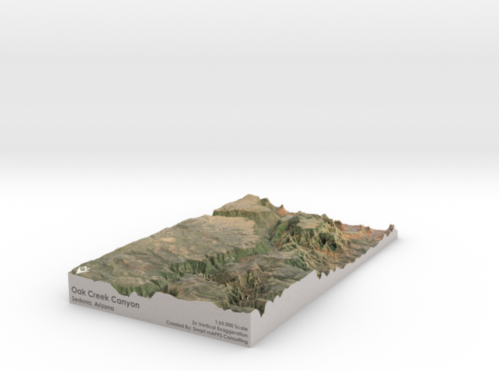"Oak Creek Canyon Map: 7""x12"" 3d printed"