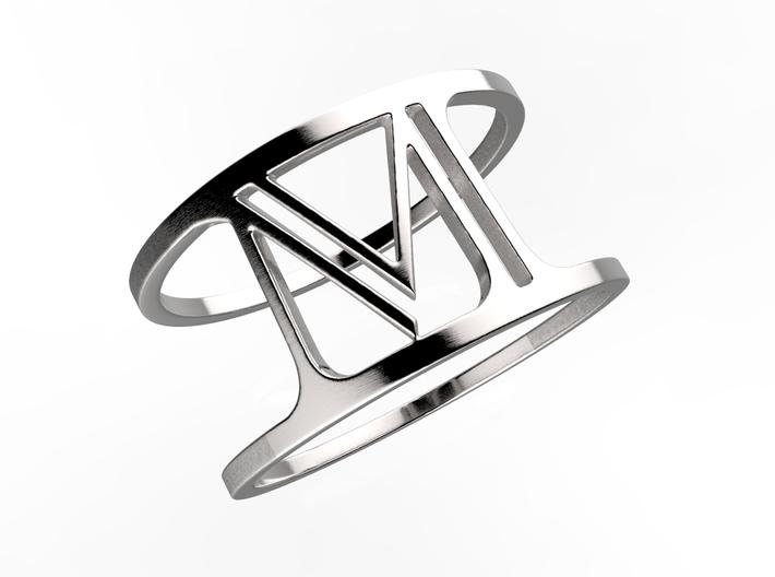 M Bridge Ring 3d printed