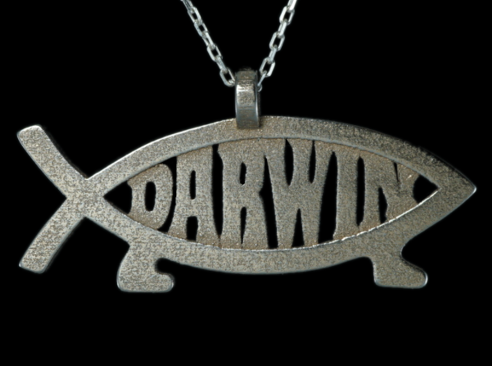 Darwin fish pendant horizontal g4us44fnd by 3dguild darwin fish pendant horizontal 3d printed aloadofball Image collections