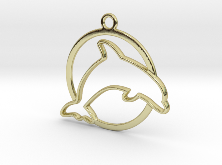 Dolphin & circle intertwined Pendant 3d printed