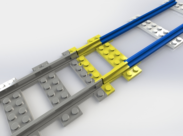 Model Railroad Track Converter 3d printed This image explains the purpose of the train track converter. It allows today's LEGO trains to run on old tracks combined with today's LEGO tracks.
